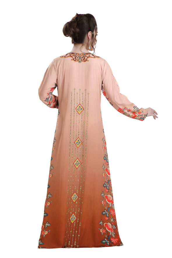 DUBAI KAFTAN DIGITAL PRINTED LONG MAXI DRESS with CRYSTALS - Maxim Creation