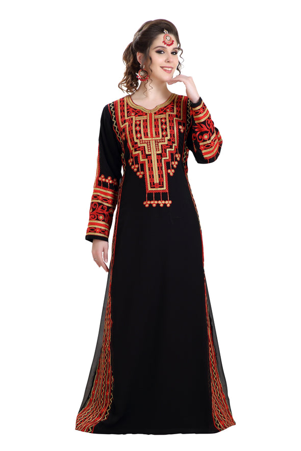 FARASHA MAXI DRESS EMBROIDERED ROBE - Maxim Creation