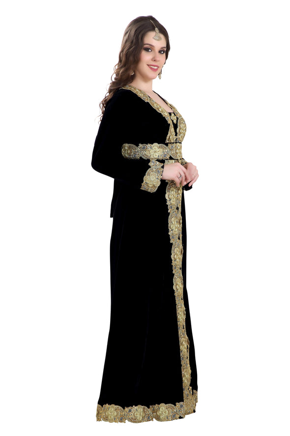 BLACK VELVET CAFTAN with LACE - Maxim Creation