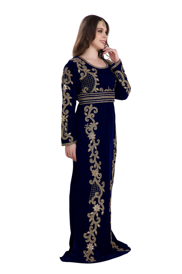 FISH CUT BLUE VELVET CRYSTAL MOROCCAN KAFTAN - Maxim Creation
