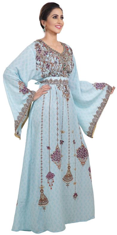 Printed Dubai Kaftan with Floral Embroidery - Maxim Creation