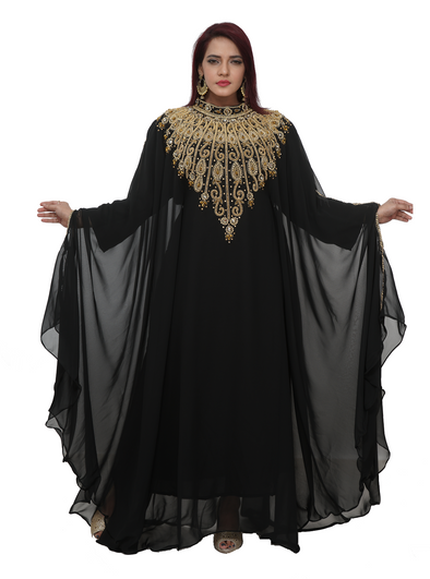 Haute Coutre Designer Abaya with Rhinestone Embroidery - Maxim Creation