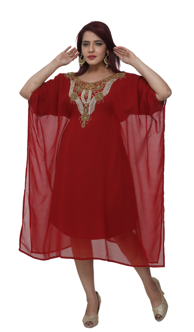 Red Farasha Maxi Dress (Knee Length Kurti) - Maxim Creation