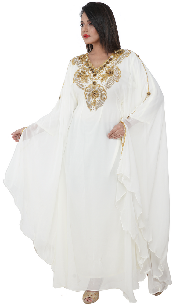 Moroccan Caftan With Crystal Embroidered Rhinestone - Maxim Creation
