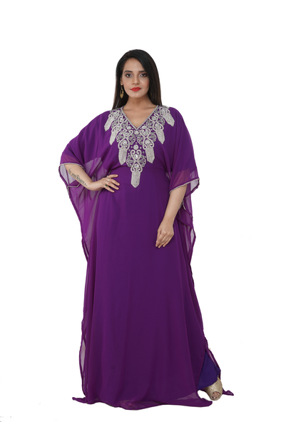 Crystal Embroidery Kaftan Evening Gown Dress - Maxim Creation