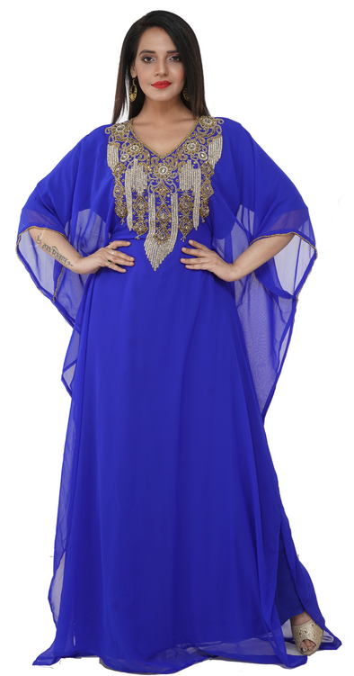 Royal Blue Fancy Kaftan Gown - Maxim Creation