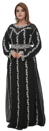 Victorian Party Wear Kaftan with Petal Embroidery - Maxim Creation