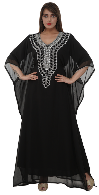 Black Velvet Beaded Embroidered Maxi - Maxim Creation