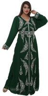 Tailor made Kaftan With Silver Floral Embroidered Belt - Maxim Creation