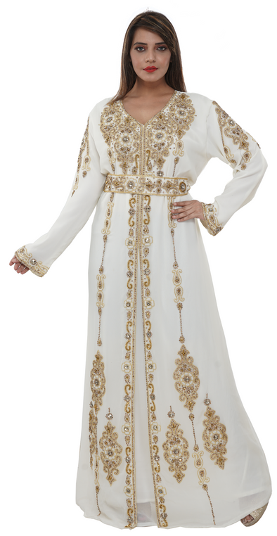 Royal Swedish Wedding Gown with Embroidered Belt - Maxim Creation