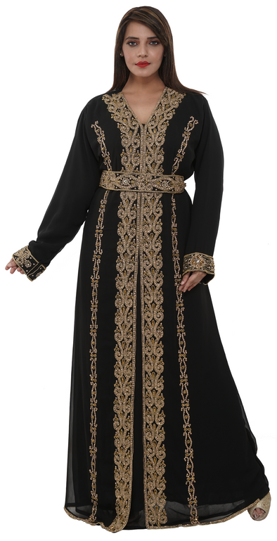 Medieval Moroccan Kaftan With Embroidered Belt - Maxim Creation