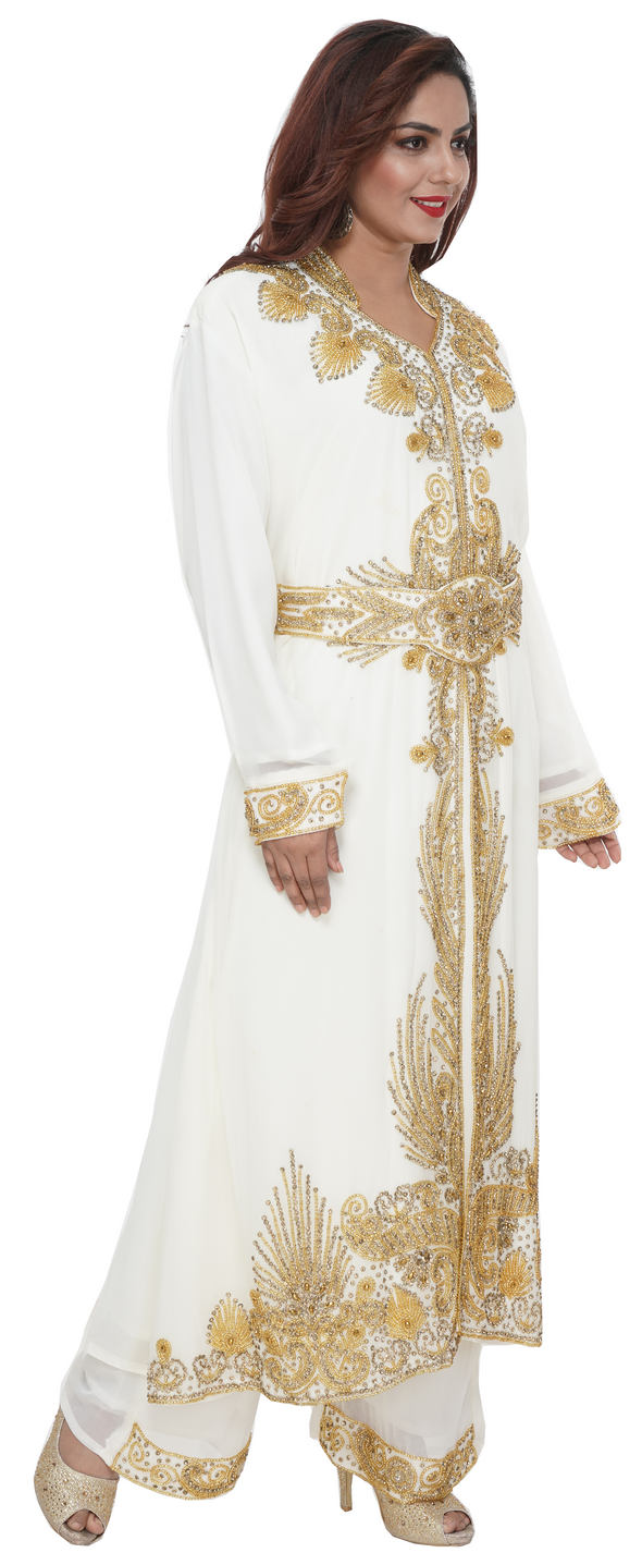 V-Neck with Collar Kaftan Dress with Golden Embroidery - Maxim Creation