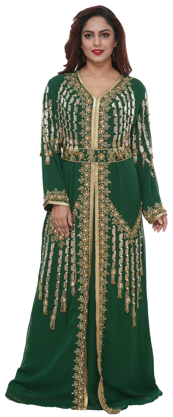 Henna Party Wear Kaftan With Golden Floral Embroidery - Maxim Creation