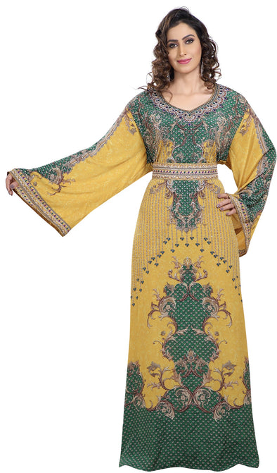 Yellow Printed Kaftan with Crystal Luxe Beads - Maxim Creation