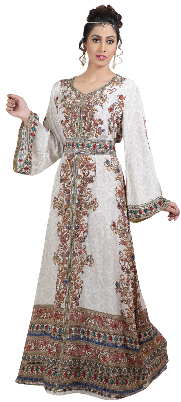 Digital Printed Kaftan with Colourful Gemstone Beads - Maxim Creation