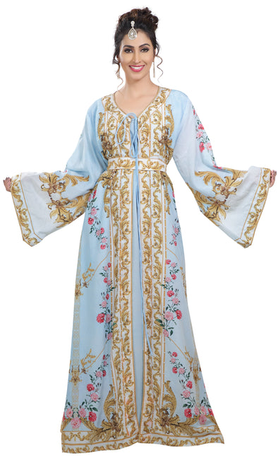 Floral Digital Printed Kaftan with Pearl Beads - Maxim Creation
