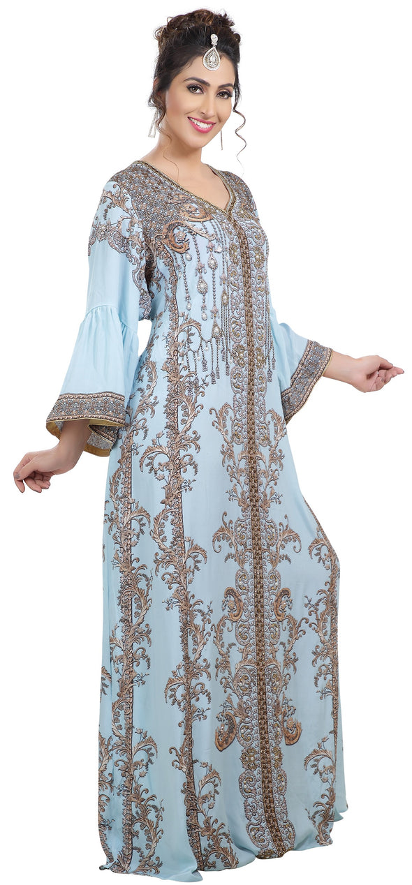 Digital Printed Party Gown With Crystal Embroidered - Maxim Creation