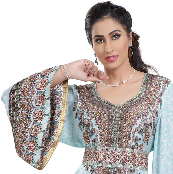 Customized Digital Kaftan With Mix Embroidery - Maxim Creation