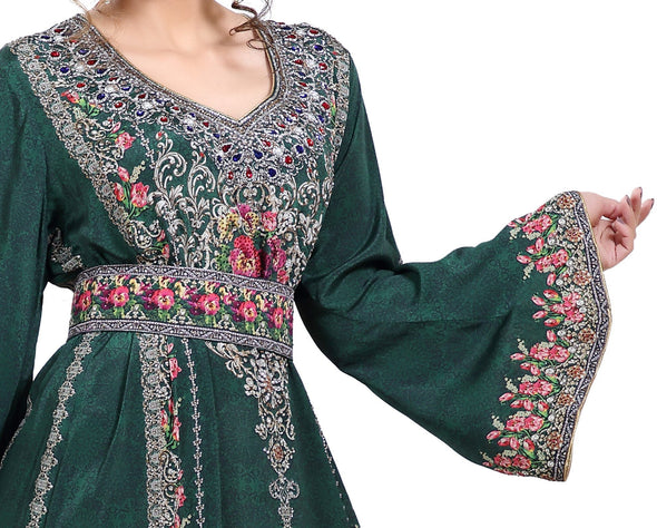 Floral Printed Fabric Kaftan with Embroidered Belt - Maxim Creation