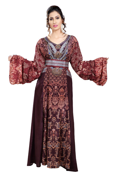 Mix Embroidered Palestinian Digital Printed Kaftan - Maxim Creation