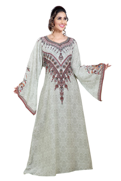 Kurdish Printed Maxi With Mix Embroidered Beads - Maxim Creation