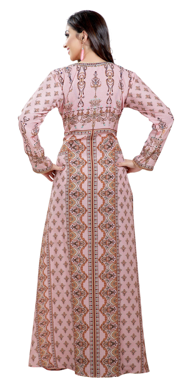 Light Pink Printed Kaftan with Green Embroidered Beads - Maxim Creation