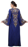 Royal Blue Arabian Digital Print Kaftan With Embroidered Belt - Maxim Creation