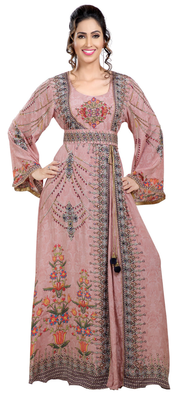 Light Pink Printed Kaftan With Crystal Luxe Beads - Maxim Creation