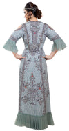 Digital Printed Party Gown With Cold Shoulder Sleeves - Maxim Creation