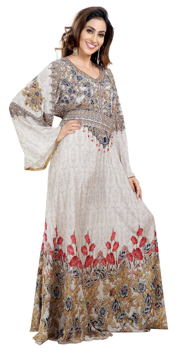 Floral Digital Printed Maxi with Multi colour Beads - Maxim Creation