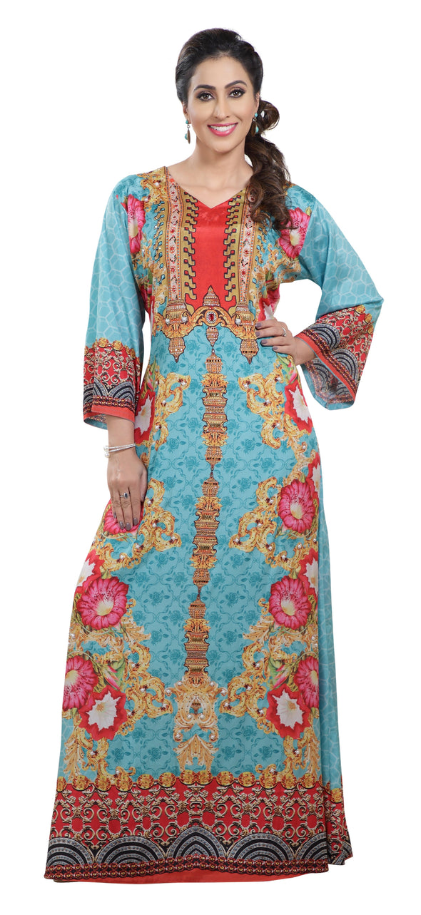 Digital Print Jellabiya Maxi With Embroidered Beads - Maxim Creation