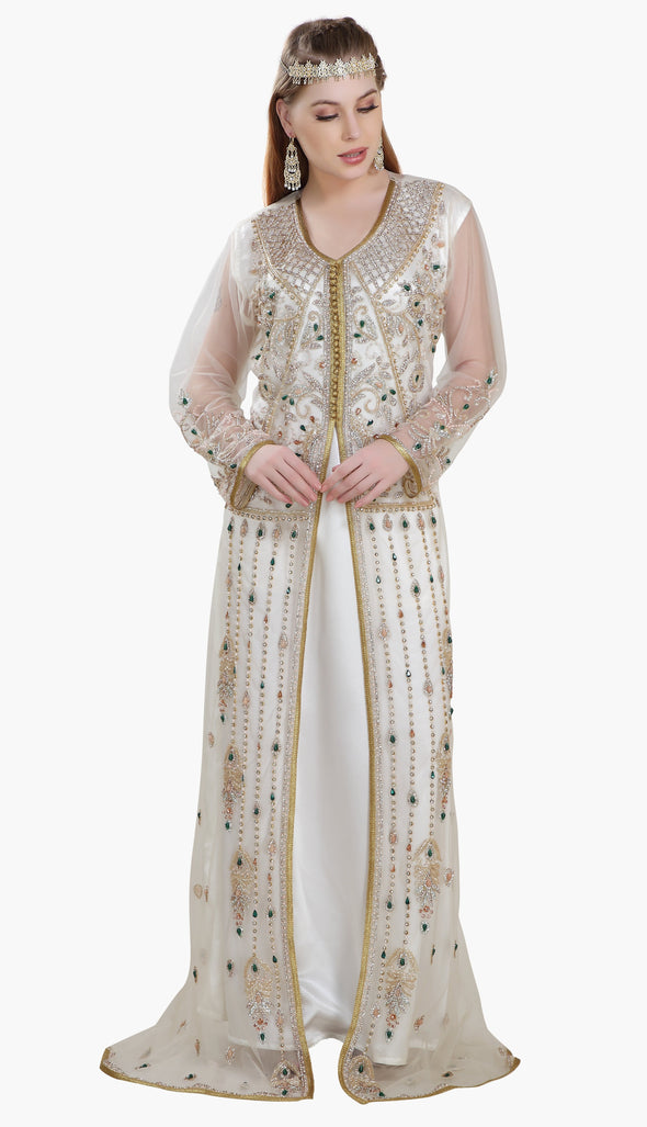 Persian Djellaba Embroidered Kaftan Gown - Maxim Creation