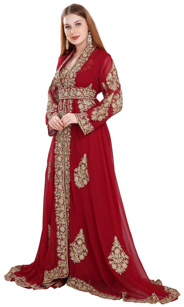 Maroon Jellabiya Moroccan Caftan Dress - Maxim Creation