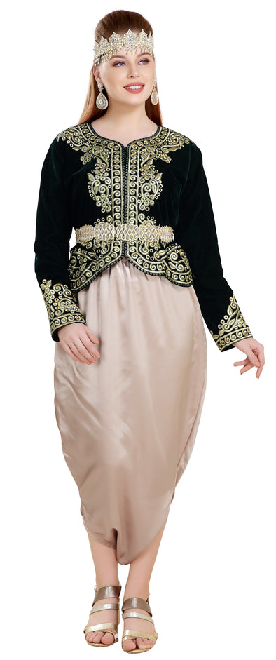 Traditional Algerian Dress Velvet Caftan Top - Maxim Creation