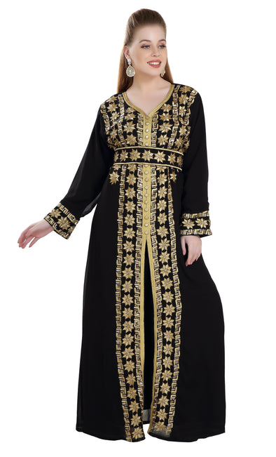 Moroccan Takchita With Machine Embroidered Dress - Maxim Creation