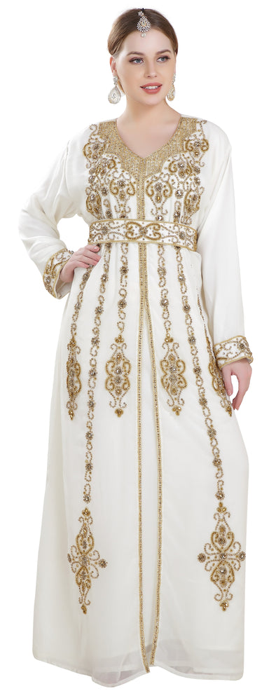 Traditional Abaya with Golden Beads - Maxim Creation