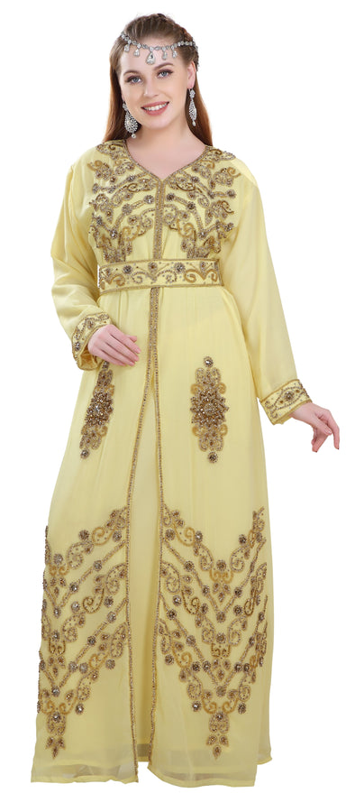 Embroidered Kaftan Henna Party Dress - Maxim Creation