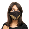 Black Coloured Cotton Face Mask with Petal Textured Embroidery - Maxim Creation