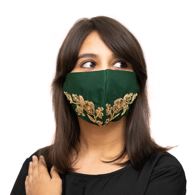 Leaf Textured Embroidery on Bottle Green Coloured Cotton Face Mask - Maxim Creation