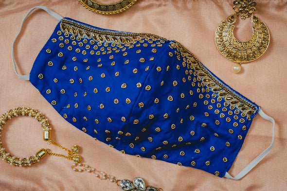 Gold Embroidery on Royal Blue Cotton Mask - Maxim Creation