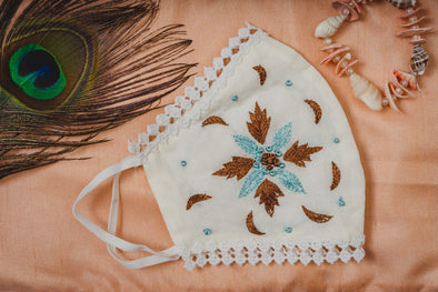 Geometrical Floral Embroidery on Cream Cotton Face Mask with Lace - Maxim Creation