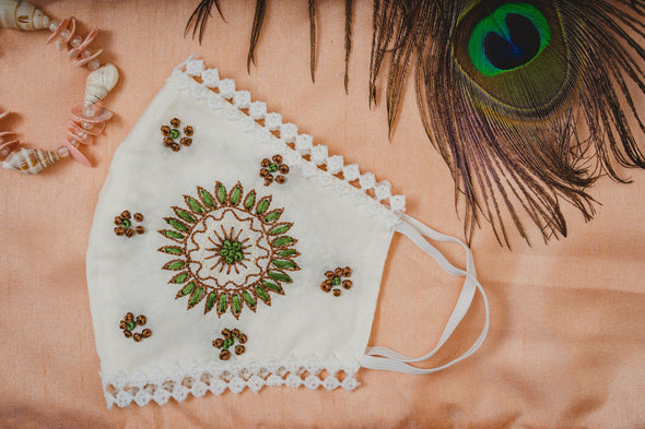 Cream Cotton Lace Face Mask with Sun Flower Embroidery - Maxim Creation