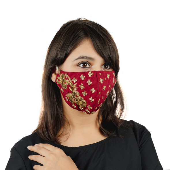 Red Cotton Face Mask with Floral Embroidery - Maxim Creation