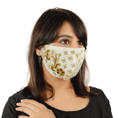 Creamy Floral Embroidery Cotton Face Mask - Maxim Creation