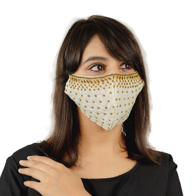 Creamy White Cotton Face Mask with Golden Embroidery - Maxim Creation