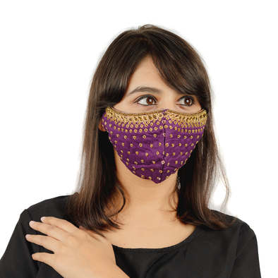 Purple Polka Dot Embroidered Cotton Face Mask - Maxim Creation