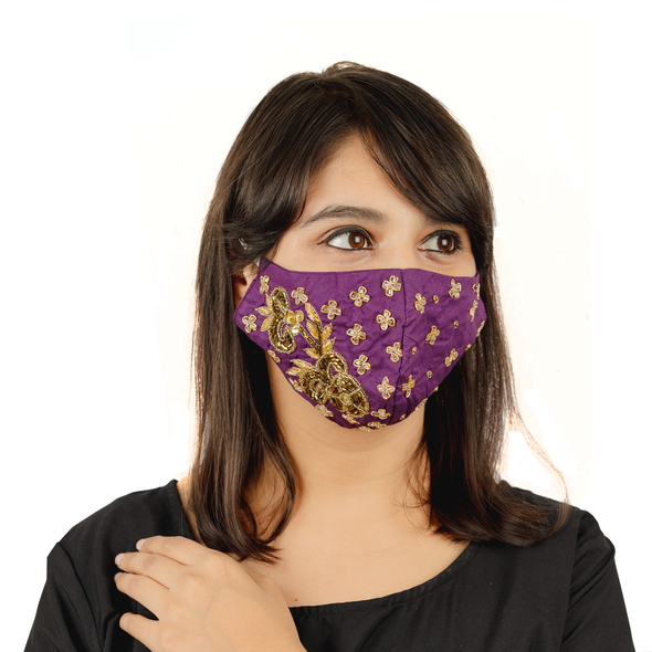 Purple Colour Cotton Mask with Floral Embroidery - Maxim Creation