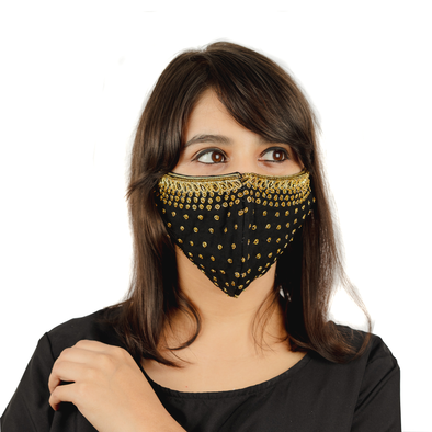 Black Cotton Mask Face Mask with Golden Hand Embroidery - Maxim Creation