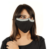 Traditional Black Coloured Cotton Mask with Embroidery - Maxim Creation