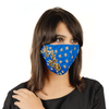 Royal Blue Cotton Face Mask with Floral Embroidery - Maxim Creation